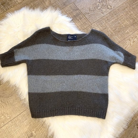 American Eagle Gray Blue Striped Crop Sweater XS